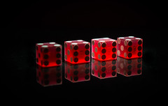 Week 18 Challenge: Symmetry - Red & Black - Gamblers throw. (Ian Johnston) Tags: red dice gambling black game reflections week18 nikon symmetry spots numbers roll marble challenge throw winning d800 2013