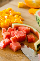 Watermelon Tomato (Yack_Attack) Tags: food tomato recipe salad vegan healthy raw side mint watermelon vegetarian basil easy glutenfree dairyfree soyfree veganyackattack