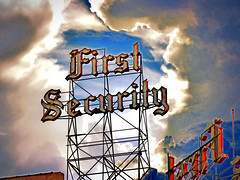 Salt Lake City  ~ Utah ~ First Security ~ Scaffold Neon Sign ~ Lost (Onasill ~ Bill Badzo) Tags: salt lake city utah first security bank scaffold neon sign lost destroyed onasill desert national brigham young odgen downtown ut sky clouds outdoor