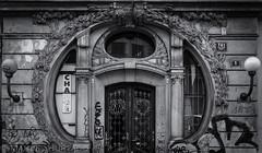 Art Nouveau Gate (ManuelHurtado) Tags: countries places architecture artnouveau building city cityscape czech europe european facade gate graffiti historic house modernist old prague street traditional urban praga repblicacheca cz