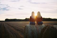 Twins (oleju) Tags: analog nikkor nikon fuji field girl blonde hay sunset film f55 n55
