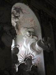 Window with sculpture in the chapel, chateau, Valtice, Czechia (Paul McClure DC) Tags: czechia czechrepublic aug2016 moravia břeclav valtice feldsberg lednickovaltickýareál architecture historic church sculpture štuk jihomoravskýkraj