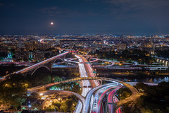 The Heights (Strykapose) Tags: theheights newyorkcity washingtonheighs highbridge thebronx manhattan harlemriver traffictrails rooftops moon night washingtonbridge alexanderhamiltonbridge thehighbridge whitestonebridge throgsneckbridge crossbronx onramp offramp bridge highway lighttrails longexposure canon 5dsr ef1635mmf4isusm highbridgepark bridgepark strykapose majordeeganexpy harlemriverdrive birdseyeview soundview throgsneck bluehour