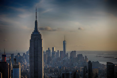 Old and New (patrickmaughan) Tags: nyc new york empire state building one world trade centre skyline