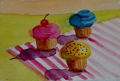 Three more cupcakes (BonnieBuchananKingry) Tags: paintings cupcakes colorful stripsshadows cherry frosting sprinkles watercolor