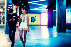 Let's Get Outta Here (Jon Siegel) Tags: nikon d810 50mm 12 nikon50mmf12ais 50mmf12 boy girl man woman fashion fashionable sexy youth night evening neon architecture street candid glow chinese singapore singaporean people