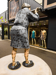 50 Shades of Grey (Steve Taylor (Photography)) Tags: art sculpture container shop grey blue brown green metal iron avonsidedrive bunting hannahkidd restart mall steelrodcorrugatediron welds 50shadesofgrey fashion dress mannequin slippers