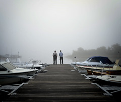 Friendship (patrik.stjerna) Tags: copyright stjerna nikon d600 fx sweden sverige fog haze friendship bridge boat boats water woods