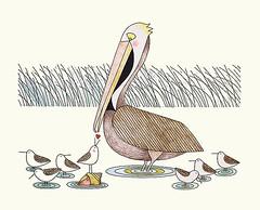 Brown pelican and shorebird (Japanese Flower and Bird Art) Tags: bird brown pelican pelecanus occidentalis pelecanidae shorebird scolopacidae ikki matsumoto modern screenprint print japan japanese art readercollection