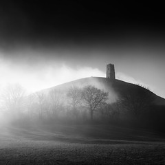 Glastonbury Tor. (bhp1956) Tags: trees glastonburytor monochrome mist winter somersetlevels sunrise somerset blackwhite glastonbury clouds