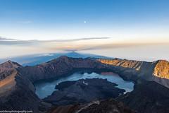 Rinjani Summit (Nick Lens Photography) Tags: indonesia moutnain trekking nikon d810 nikkor moon sunrise bluehour summit hiking rinjani gitzo photography outdoor landscape