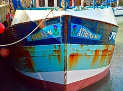 Athena M (rustyruth1959) Tags: nikon nikond3200 tamron16300mm cornwall padstow padstowharbour harbour port mooring boat vessel fishingboat fishingvessel potboat hull bow rust repair outdoor starboard rope buoy blue paint thistle athenam