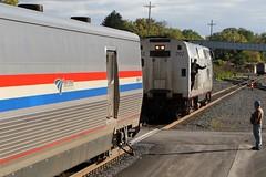 Locomotive Change at Albany, NY (dangaken) Tags: fall2016 2016 amtk amtrak albanyny new york newyork empirestate lakeshorelimited 20thcenturylimited amtk702 gegenesisp32acdm ge genesis p32acdm