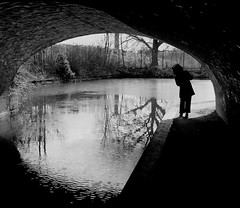 Around the Corner: Coventry Canal Prince William Henry Bridge West Midlands UK (Kangaroobie......catching up) Tags: uk bridge winter bw reflection monochrome mono canal masonry coventry westmidlands whitley aroundthecorner coventrycanal sonyrx1 williamhenrybridge