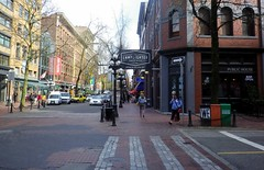 van13d06 Water Street, Gastown Vancouver (CanadaGood) Tags: red white canada color colour building tree green sign vancouver hotel pub downtown bc pavement britishcolumbia streetphoto gastown 2013 canadagood thisdecade