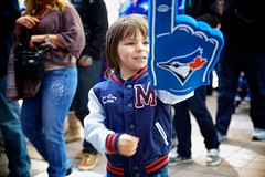 Game Day (cookedphotos) Tags: blue boy toronto game sports canon happy team child baseball finger young pride foam skydome bluejays cheer number1 rogerscentre project365 365project 5dmarkii