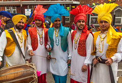 Sikh Dhol Drummers in marvellous costumes taking part in the 2013 Vaisakhi festival parade in Southampton (Anguskirk) Tags: uk england color colour festival hampshire procession sikh gurdwara southampton drummers turbans saris vaisakhi nagarkirtan