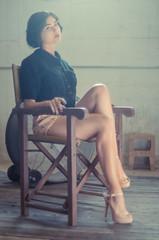 Rivi (isayx3) Tags: wood light classic film fashion vintage blog model chair nikon dof natural stage grain retro 55mm madison hollywood director tones d800 f12 rivi isayx3 plainjoestudios plainjoephotoblogcom