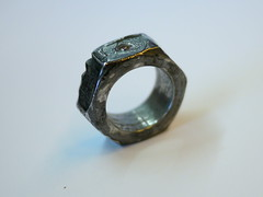 Nut Ring With Champagne Diamond - 4 (the justified sinner) Tags: rust iron steel champagne jewelry ring diamond panasonic jewellery 20mm nut foundobject corrosion corroded f17 gh2 justifiedsinner