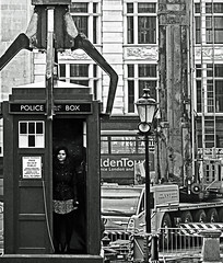 Dr Who filming (Gemma - Loiuse Coleman & the TARDIS) Trafalgar Square (Nikon D7100) (markdbaynham) Tags: street city urban bw white black london monochrome square nikon who dr capital trafalgar cropped format coleman tardis dslr filming dx apsc 18105mm jennalouise