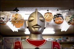 Ultraman visits the friendly people of Kobe (Eric Flexyourhead) Tags: city urban detail window japan shop toy store display masks kobe  kansai hyogo ultraman fragment sannomiya chuoku      kobeshi  koukashita panaleica25mmf14 leicadgsummilux25mmf14asph olympusem5