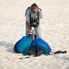 Skydiving Apr 2013, John gathering his kit on the beach (divemasterking2000) Tags: sky skydiving coast la flying al jump jumping gulf alabama dive diving center skydive lower canopy dropzone emerald parachuting parachute dz canopies skyjump gulfcoast elberta parachutes skyflying skyfly emeraldcoast loweralabama 2013 skyjumping emeraldcoastskydivingcenter