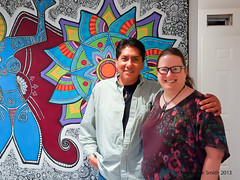 "Me with Jemez Pueblo artist John Toya (Stephanie ""Biffybeans"" Smith) Tags: blue woman black mural artist acrylic factory transformation feminine mandala banana divine canvas growth valley spirituality gesso visionary lehigh figural unstretched biffybeans httaorg"