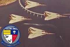 VF-2 F-14A Tomcats (skyhawkpc) Tags: inflight aircraft aviation navy naval usnavy usn tomcat grumman f14a vf2bountyhunters ne211 ne203 ne202 ne212 unkbuno