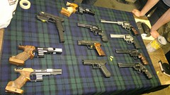 Table of guns (skumroffe) Tags: table 22 gun sweden stockholm guns shooting revolver colt pistols 44 9mm 357 glock ruger skytte sickla copco smithwesson sigsauer 44magnum revolvers 357magnum pardini atlascopcopistolskytteklubb