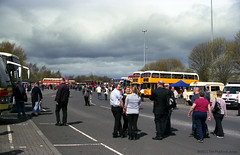 MBR26 Metrocentre Bus Rally - Main Drag (HairyHippy) Tags: uk england film analog 35mm silver pentax unitedkingdom superia traditional gateshead fujifilm routemaster analogue dennis daimler chemical leyland asa400 bromide mesuper xtra tyneandwear metrocentre fujicolor atkinson aec busrally halide preservedbuses c41developer fujihunt