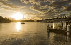 Balmain Wharf (Bass Photography) Tags: morning sunset water yellow ferry clouds sunrise boats gold harbour yacht sydney australia wharf australianlandscape harbourbridge balmain sydneyharbour sydn