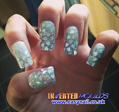 Cheryl Glitter Hearts (invertednailsystems) Tags: uk pink orange black art yellow glitter training silver gold amazing neon pretty im nail powder course nails salon technician extension inverted false ims extensions nailart courses moulds enuk invertednailsystems easynail easynailuk