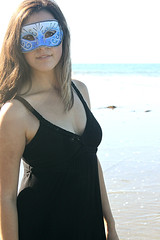Blue (~Natalie Hope~) Tags: ocean sea beach girl beautiful sand masquerade blackdress brownhair masquerademask bluemask
