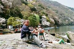 Arashiyama, old pa and sakura ceremony (tinanthony) Tags: contax 200 g1 planar g45 colorplus