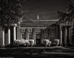 Karpeles Library (mjardeen) Tags: trees sky blackandwhite bw white black building grass architecture clouds landscape ir washington conversion library sony 28mm wide adapter infrared wa converted tacoma fe bushes 21mm karpeles 720nm 2 lifepixel macphun tonalitypro sonyfe28mm2 21mmwideadapter