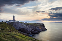 lighthouse in the sunset (JuanCarViLo) Tags: faro lighthouse sunset cabo mayor santander cantabrico sea coast long exposure spain