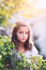 (Rebecca812) Tags: girl child portrait sunlight trees leaves summer beauty 9 rebecca812 canon hazeleyes brownhair eyecontact