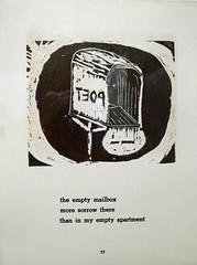 POET - empty mailbox haiku - Haiku, Topanga by Diane di Prima, 1967 (Monceau) Tags: beatgeneration exhibition centrepompidou poet empty mailbox haiku blackandwhite print woodblock