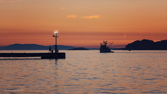 from dusk till dawn (cherryspicks (intermittently on/off)) Tags: dusk moon pier boat fishing sunset red silhouette outdoor sea water adriatic croatia velaluka