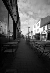 Deserted Sunday Morning (4foot2) Tags: streetphoto streetshot street streetphotography early sunday morning laines northlaines brighton chairs tables reflection glass analogue film filmphotography 35mmfilm 35mm 35mmf35 35mmf35summaron summaron leica 1932 1932leica leica111 polypanf rodinal standdevelop bw blackandwhite monochrome mono 2016 fourfoottwo 4foot2flickr 4foot2photostream 4foot2