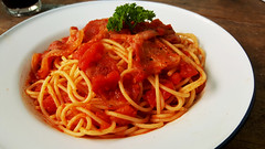A touch of Italian (Roving I) Tags: spaghetti pasta tomato italiancuisine dining meals dishes cabanon cafes danang vietnam parsley