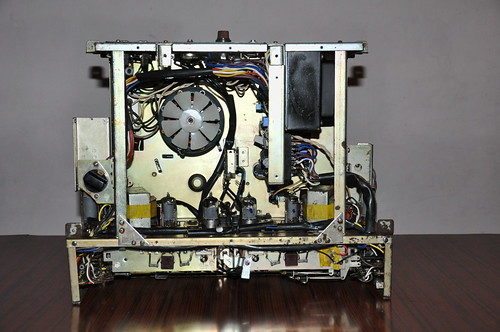 Internals of Sony TC-500 reel to reel tape recorder.