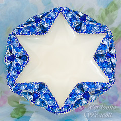 David's Star by Verdonna Westcott (Verdonna.com) Tags: star david pointed jewish hanukkah passover chanukah blue crystal rhinestones milk glass dish antique vintage 1890s 19th century plate tray decor holiday jeweled embellished centerpiece israel israeli