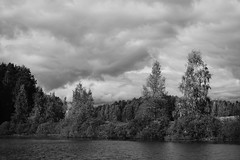 The Pond (Janacekian) Tags: lake landscape lakescape storm cloud clouds cloudy monochrome monochromatic bw