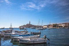 Rovinj Harbour (DC P) Tags: rovinj hrvatska croatia sea coast city old historic venice waterfront boat boats water reflection bird island sun sunny summer nature relax serene travel color blue fishing harbour lights landscape landschaft shore flickr panorama outdoor vehicle marina cloud clouds explore pov onument monumental world outside country orange holy cross beam architecture building dusk nightshot bh hour street exposure smooth view ship sailing harbor seaside