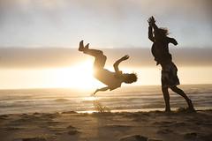 Backflip (Simon du Vinage) Tags: 2016 acrobatics beach light sunset youthcamp backflip