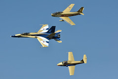 Canadian Forces Centennial of Flight Demonstration Team performs a formation flypast. (aeroman3) Tags: september19 2009 gatineau cf188 cf18 hornet centennialofflightdemonstration hawkone goldenhawk f86 sabre acaf ct114 tutor quebec canada