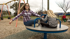 Cousins at Maidstone Park, Upper Hutt 59 (C & R Driver-Burgess) Tags: boys girls young play park playground plaid jeans minecraft tshirt blonde curls blue roundabout spinner child kids flying smile