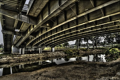 Greenish (Explore) (Yam Amir) Tags: road reflection green water river israel telaviv aqua day sony explore yam amir brige 16mm hdr lightroom yarkon nex sel16f28 nex6 yamamir