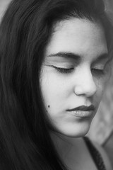 Eyes Shut (Elvira Kalviste Photography) Tags: portrait blackandwhite bw woman girl beautiful photography thoughtful ethereal eyesclosed